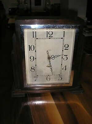 art deco antique wooden mantle clock 240 volt.