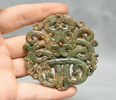 "2.8"" Old Chinese Dynasty Green Jade Hand Carved Dragon Beast Luck Pendant Amulet"