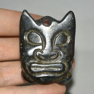 "2"" Chinese hongshan culture old jade Stone (black magnet) Sun God Face Pendant"
