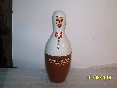 "Vintage ""PIN MONEY PETE"" Plastic Coin Bank by Spare – Bowler's Bank"