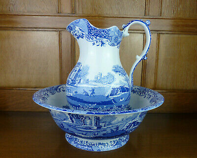Spode Blue Italian Large Wash Bowl And Jug / Pitcher Set Blue & White