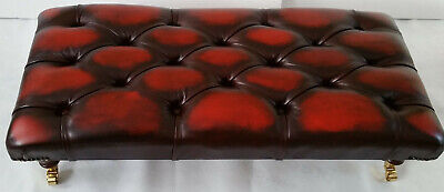 Large Rectangular Chesterfield Footstool Table 100% Antique Oxblood Leather