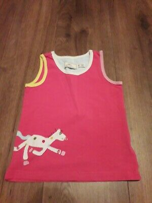 girls pink horse vest top age 3-4 years from little joules