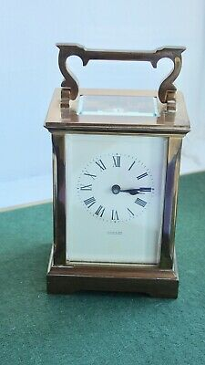 Vintage brass carriage clock, 8 day with winder and original box