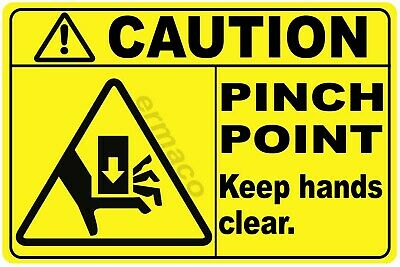 "(Qty 5) CAUTION PINCH POINT SAFETY STICKERS YELLOW POLYESTER 3"" X 2"" (Style 4)"