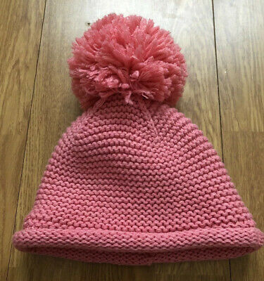 Next Baby Girl's Chunky Knit Beanie Hat With Pom Pom In Pink Age 12-18 Months