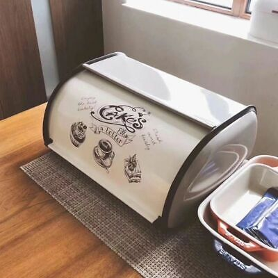 Metal Bread Box Bin Kitchen Storage Containers Home Kitchen With Roll Top Lid