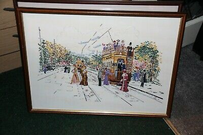vintage hand embroided framed picture