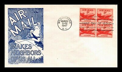 Dr Jim Stamps Us Five Cent Air Mail Cs Anderson First Day Cover Block