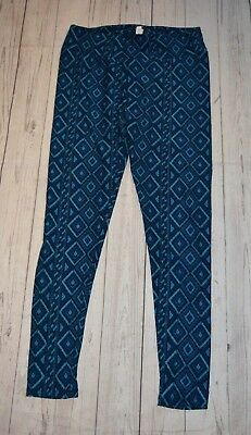 Lularoe Tall Curvy Blue Diamond Print Leggings Stretch Soft Polyester Spandex