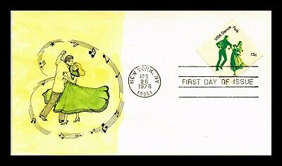 Dr Jim Stamps Us Dance Folk Hand Colored Lois Hamilton First Day Cover