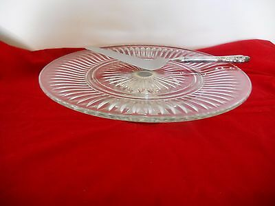 Crystal Torte Stand on Silverplated Low Pedestal  + Silverplate Server