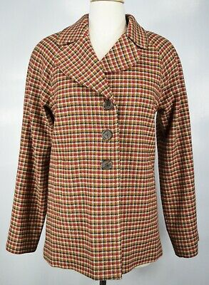 Pendleton Women's Wool Houndstooth Plaid Coat Size 12 Orange Red Blazer