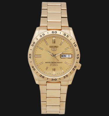 NEW Seiko 5 Gold Tone Automatic Watch 50M Water Resistant  SNKE06K1