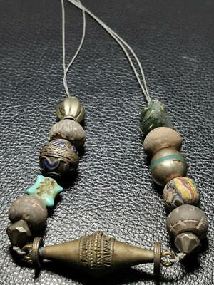 100 AD Ancient Roman Stone & Glass ,  Brass Beads Necklace # 132
