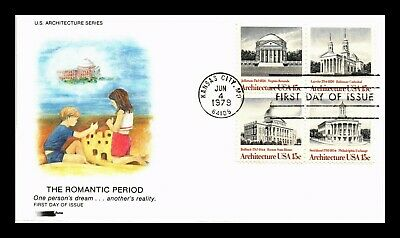 Dr Jim Stamps Us Romantic Period Architecture Softones Fdc Cover Block Of Four