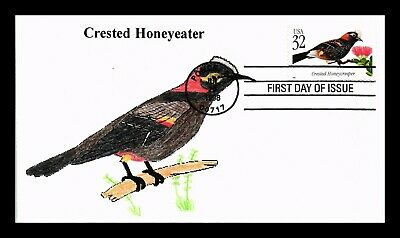 Dr Jim Stamps Us Crested Honeyeater Tropical Bird Hand Colored First Day Cover