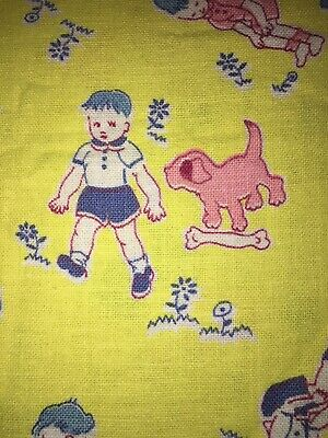 Vintage Childrens Feed sack Flour Bag Fabric. Yellow, Blue & Pink Print.