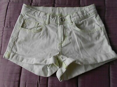 H&M Girls Shorts Aged 10 - 11 Years Pale Green Denim Turn-ups Holiday