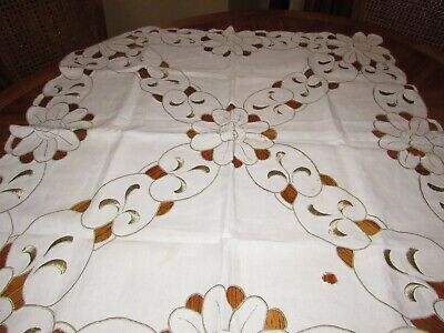 """Vintage Ecru Cutwork And Embroidered Cotton Tablecloth 34"""" Sq"""