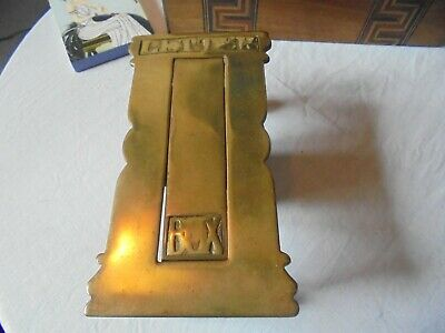 Antique Solid Brass Victorian? Letter Box With Fixings- Arts And Craft?