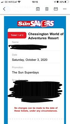 2 TICKETS FOR CHESSINGTON WORLD OF ADVENTURES FOR Saturday 3rt October 2020