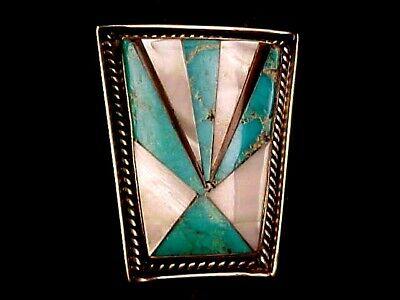 Vintage Navajo Inlaid Turquoise-Mother Of Pearl -Sterling Bolo Tie-Ariz Estate