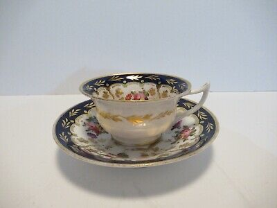 Antique English Porcelain Hand Painted Cup & Saucer Possibly Coalport (1)