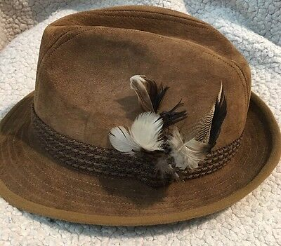 Hush Puppies Suede Leather Hat For Dunn & Co Great Britain Size 7 Vintage Fedora