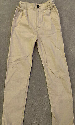 Boys Zara Beige Chino Linen Trousers with Adjustable Waistband. Age 8
