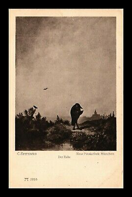 Dr Jim Stamps The Raven Painting Topical Spitzweg Germany Postcard