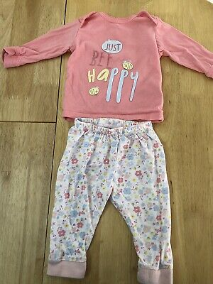 "GIRLS ""JUST BEE HAPPY "" PYJAMAS - Age 3-6 Months By MOTHERCARE"