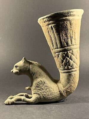 Ancient Persian Bronze Rhyton With Zoomorphic Ram Head Large Size - Circa 400Bce