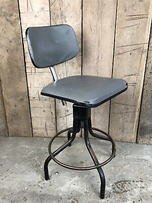 Original Vintage Industrial Evertaut Machinist Draftsman Engineers Chair Stool