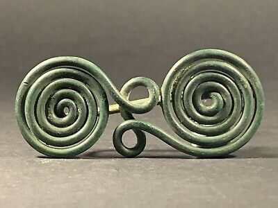 Stunning Ancient Celtic Halstatt Bronze Spiral Spectacle Brooch - Circa 500Bce