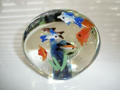 "School of Fish & Reef Crystal Clear Glass Paperweight Hand Blown, 4"" x 4"" Round"