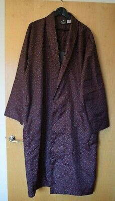 Mens TOOTAL REGENCY Maroon Paisley Dressing Gown Smoking Robe Size XL