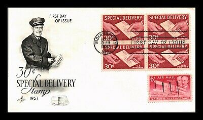 Dr Jim Stamps Us 30C Special Delivery Stamp Combo First Day Cover Block