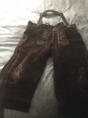 Mens Lederhosen Brown Suede/leather Size 30