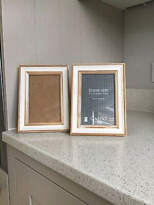 Two White And Wood Shabby Chic Picture Frames 6 X 4