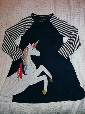 Mini BODEN GIRLS JERSEY BIG APPLIQUE Dress Unicorn BNWOT Age 7/8 YEARS