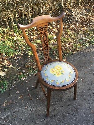 Old Mahogany Bedroom Chair, Arts & Crafts Needlepoint Chair, Old Sewing Chair
