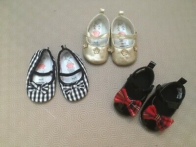 3 Pairs Baby Girls Pretty Pram Shoes  Age 6-12 Months  New