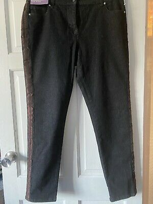 BNWT NEXT Soft Black Relaxed Skinny Mid Rise Jeans 14 Regular Striped Side Leg