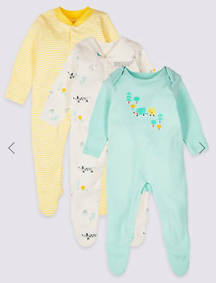 Marks and Spencer soft cotton sleepsuits 6-9 months 3 Pack New