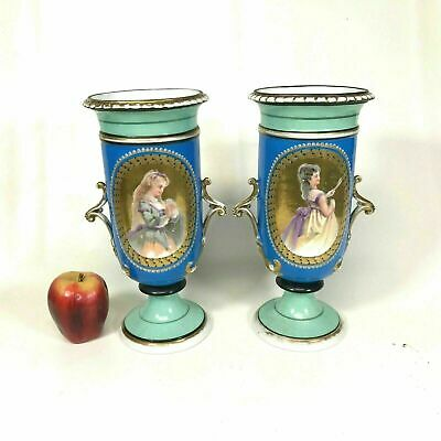 """Pair of 12"""" Early 19th Century English Porcelain Urn Vases"""