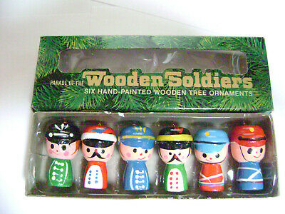 """1979 Vintage """"Parade Of The Wooden Soldiers"""" Tree Ornaments 6 Hand-Painted"""
