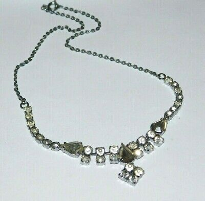 Gorgeous, Vintage Art Deco Rhodium Plated Paste Necklace Vtg Bridal Jewellery