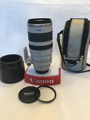 Canon EF 100-400mm F/4.5-5.6L IS USM Autofocus Lens w/ Caps & Hood (EX)and Case