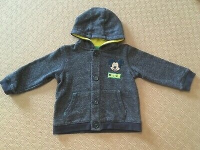 Baby Boys Hooded Mickey Mouse Coat From Disney At George Age 9-12 Months Ex Cond